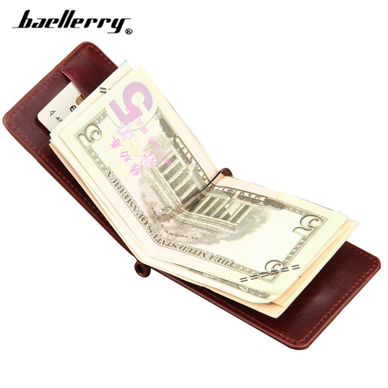 Baellerry Brand Designer Money Clip Wallet Men Black Brown Synthetic Leather Cash Clamp With Zipper Purse Male Card все цены
