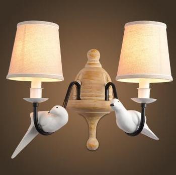 Скандинавский современный настенный светильник из смолы и ткани в форме птицы, настенная лампа для домашнего освещения, освещение для кори...