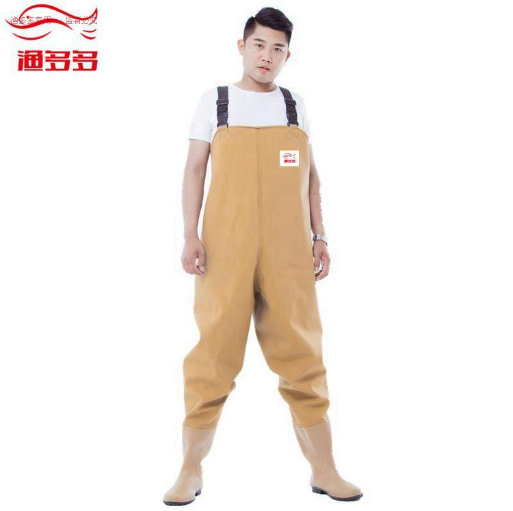 100si thickened waterproof chest wader pants fishing water trousers with boots wear-resistant water sports operations clothing