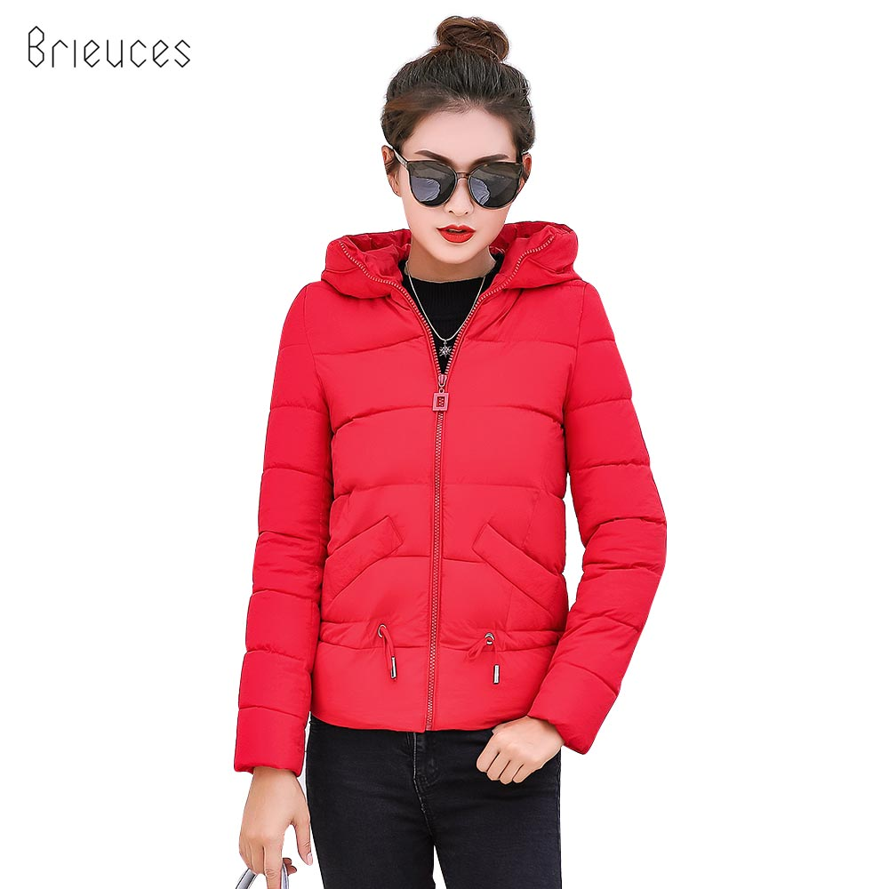 Brieuces 2019 hooded women winter jacket short cotton padded womens coat autumn casaco feminino inverno solid color   parkas