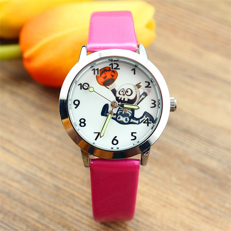 Nazeyt New Fashion Children Halloween Gift Watch Cute Boys And Girls Skull And Pumpkin Dial Luminous Hand Leather Clock Infanoj
