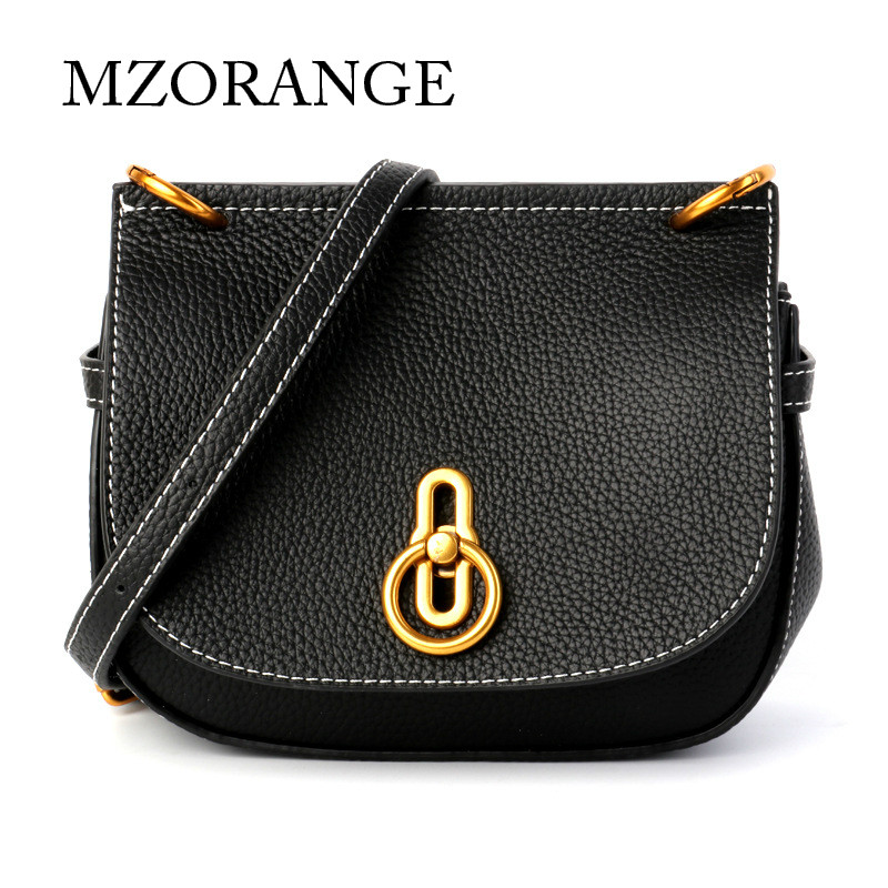MZORANGE Genuine Leather Women Shoulder Bag Metal lock design Saddle handbag Fashion Luxury Brand small Crossbody Bags 2018 NEW natives and aliens
