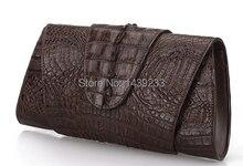 100% крокодиловой кожи натуральной крокодиловой кожи хвост кожи женщин сцепления кошельки кофе коричневый женские вечерние сцепления кошелек