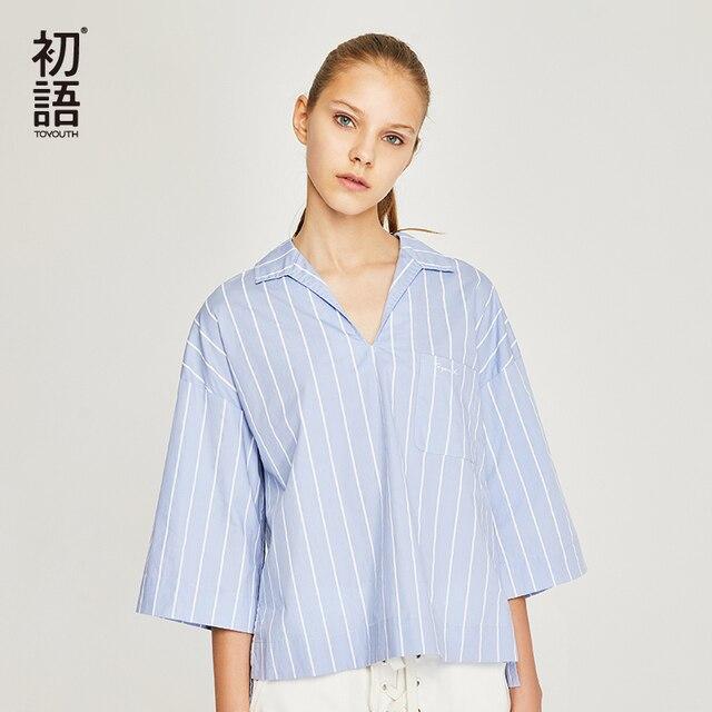 e22e4c042614 Toyouth 2018 Summer Women Blouse Cotton V Neck Shirt Blue   White Stripe  Loose Top Female Casual Half Sleeve Blusa Feminina