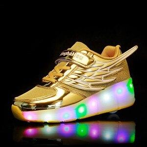 Image 5 - Zapatillas de patinaje con ruedas para niños y niñas, zapatos de moda para chicas y niños, con luces LED, color rosa, dorado y plateado
