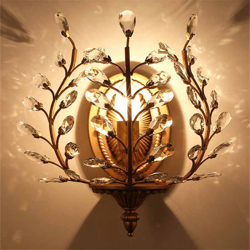 American iron creative crystal wall lamp luxury living room bedroom bedside wall lights retro aisle personality led light WWL128 european deer head wall lamp creative retro crystal wall light bedroom living room background wall light aisle art wall sconces