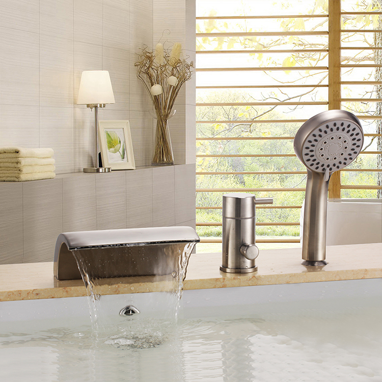 Free ship Brushed Nickel 3 Pcs widespread Waterfall Bathroom Bath ...
