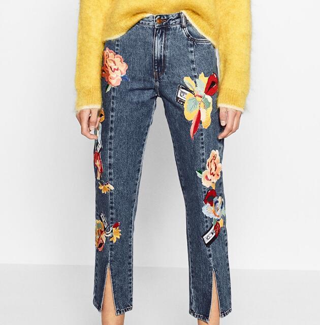 2016 Новая Мода Высокой талией Женщина Цветочные ВЫШИТЫЕ Джинсы Укороченные брюки с Передней шов щели подол с карманами