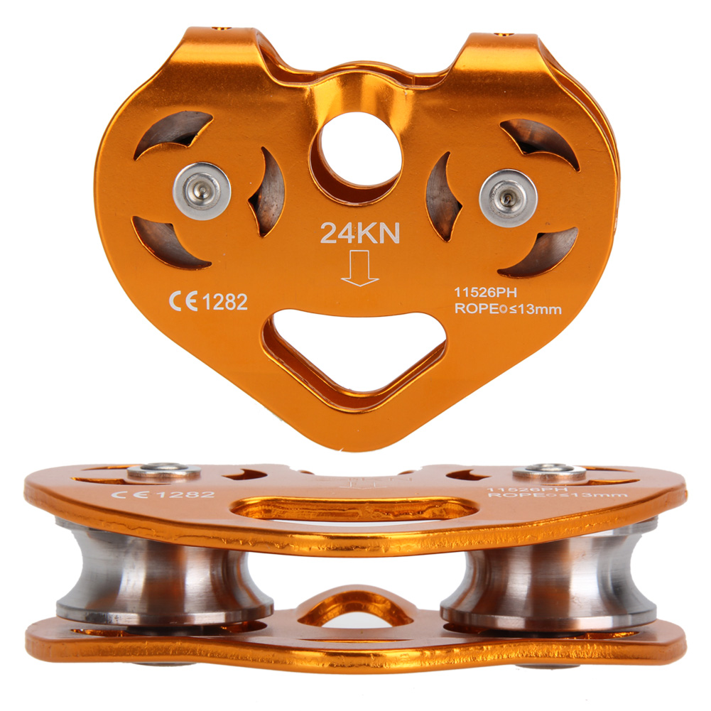 ФОТО Ball Bearing Aviation Aluminum Climbing Rock 24KN Heavy Duty Zip Line Cable Trolley Fast Speed Double Sheaves Pulley