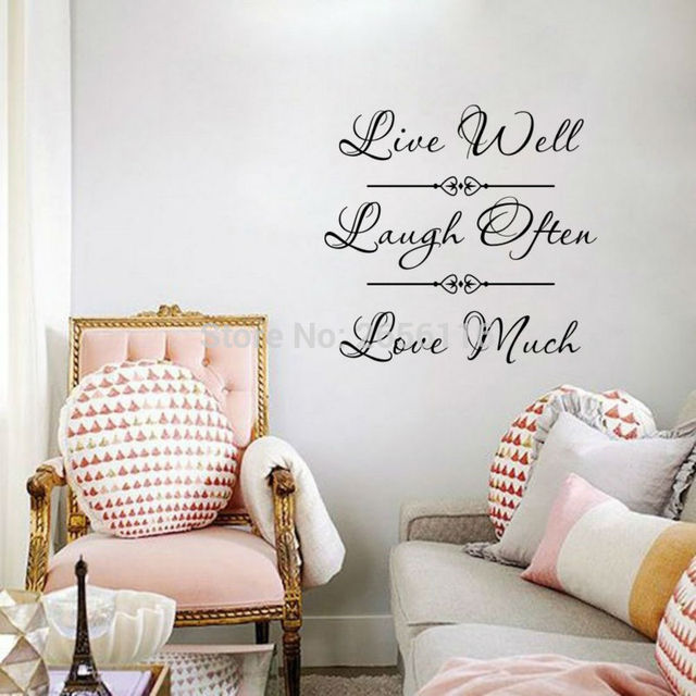 Classical life quotes wall mural decals live well laugh often love much vinyl stickers for home