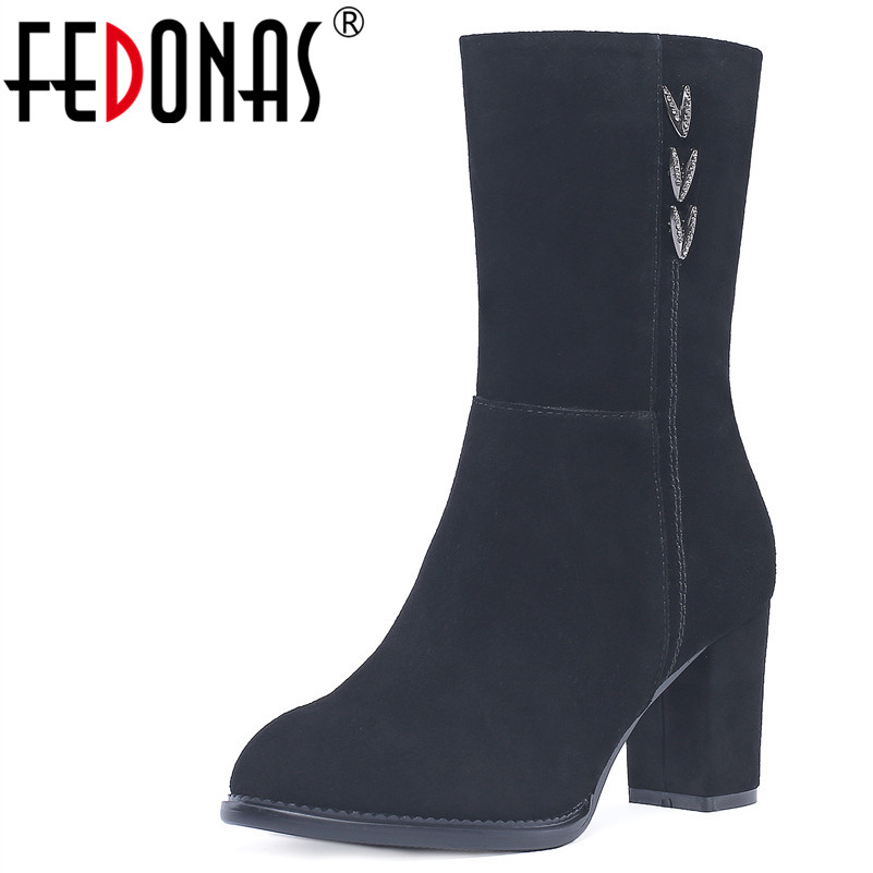 цена на FEDONAS 1Fashion Women Mid-Calf Boots Round Toe Autumn Winter Warm High Heels Shoes Woman Cow Suede Bling Party Dancing Boots