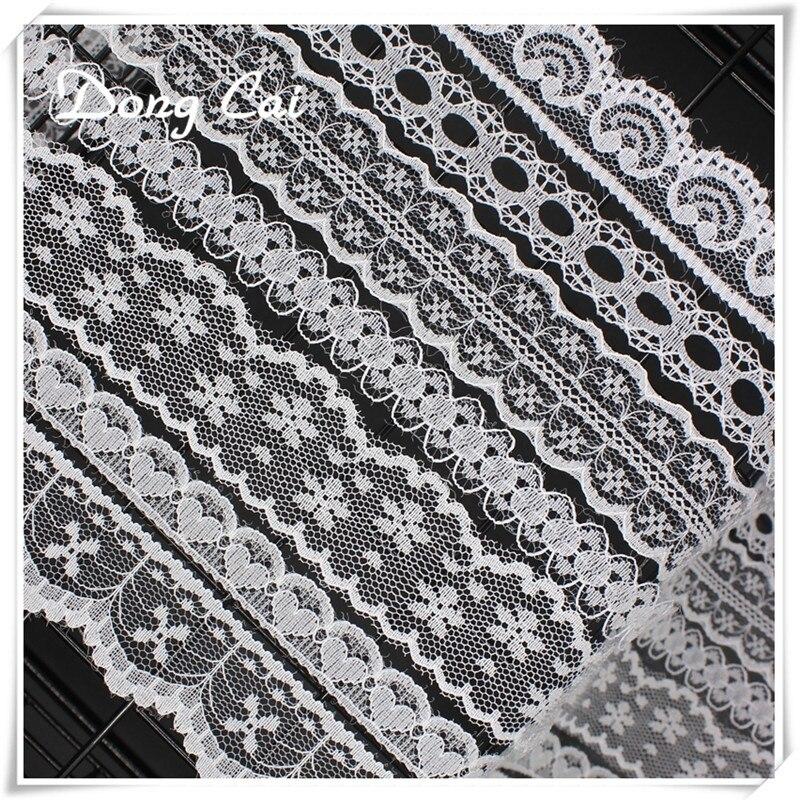 Красивые 10 метров белый кружевной лентой широкий французский Африки кружевной ткани кружева подвески для Швейные аксессуары вышитые Костюмы