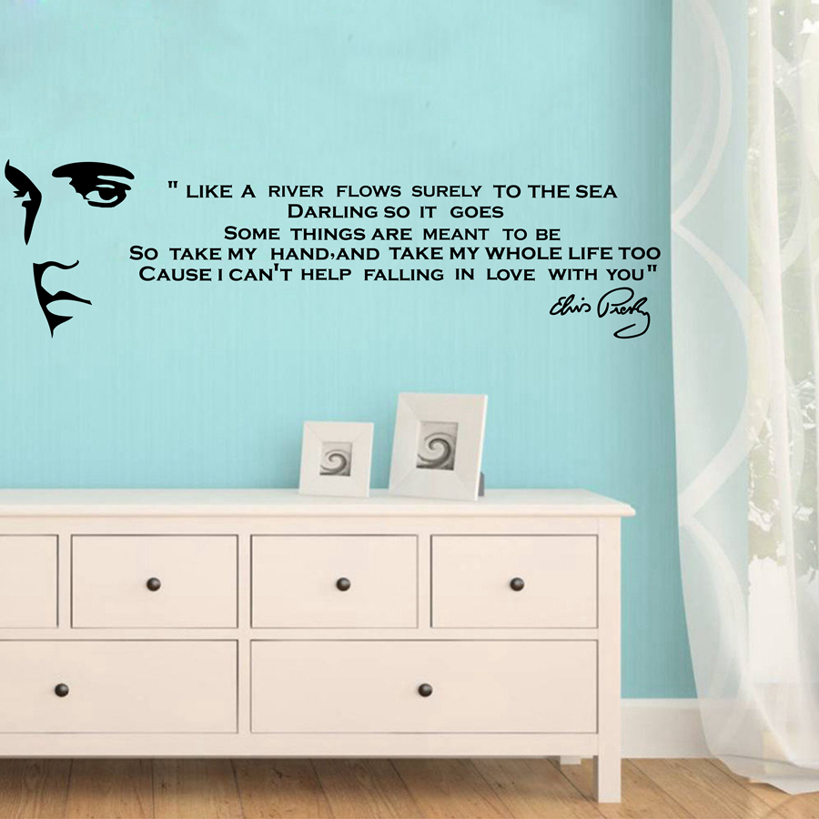 """Like A River Flows .."" ELVIS PRESLEY SONG LYRICS hinnapakkumisi Vinyl Wall Art Decals Magamistoaga Art Decoration Wall Stickers Tasuta kohaletoimetamine"