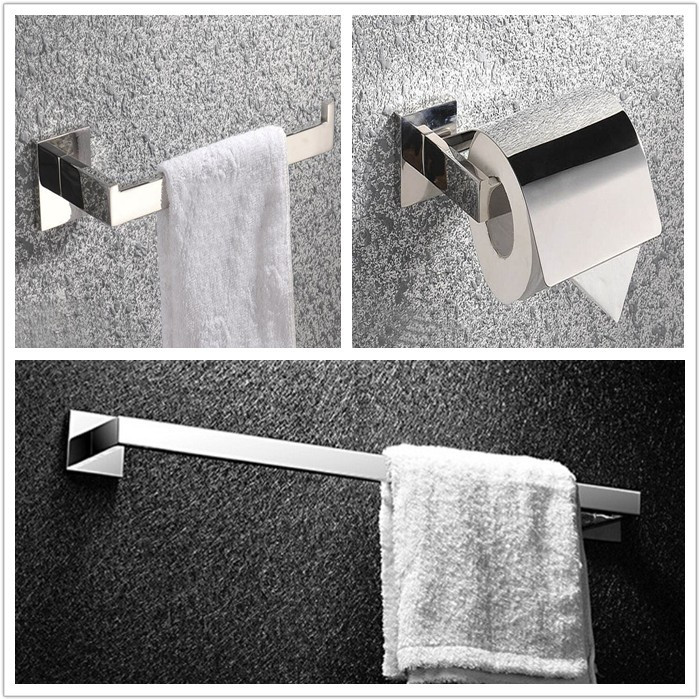 Free shipping Bathroom Accessories Bath Hardware Set Square Solid SUS 304 S/S ,Bathroom Towel Ring,Paper Holder,Towel Bar SM02B fully copper bathroom towel ring holder silver