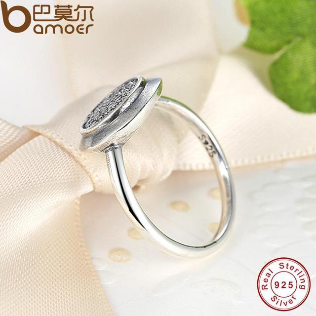 BAMOER Reale Dell'argento Sterlina 925 Firma Pavimenta Rotonda Anello con Clear Cubic Zirconia Anniversario Gioielli per le Donne PA7121