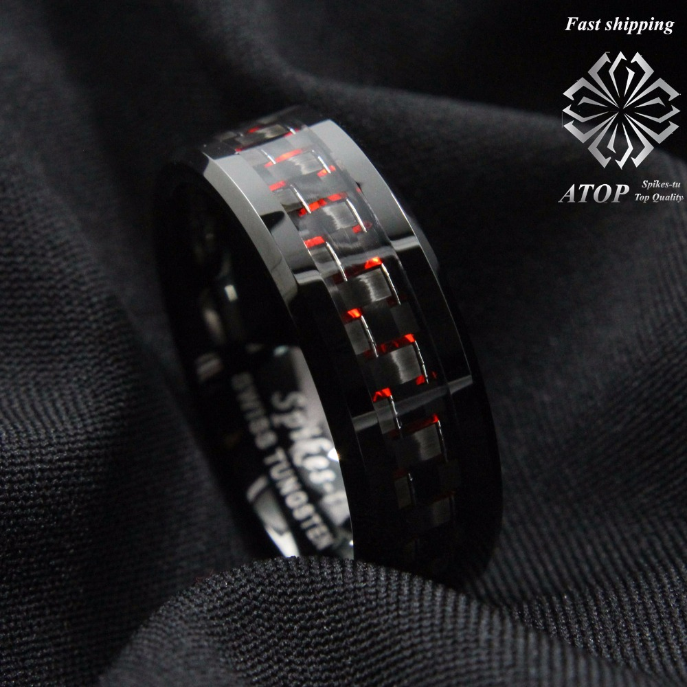 Men's Tungsten Ring with Carbon Fiber 8mm Black and red men's Wedding Band Free Shipping
