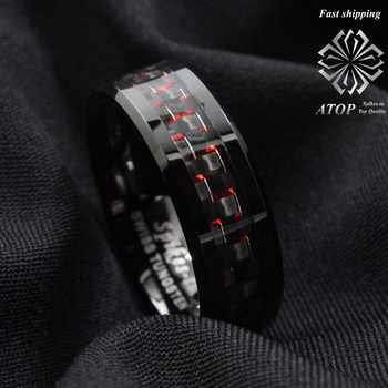 Men's Tungsten Ring with Carbon Fiber 8mm Black and red men's Wedding Band Free Shipping - DISCOUNT ITEM  0% OFF All Category