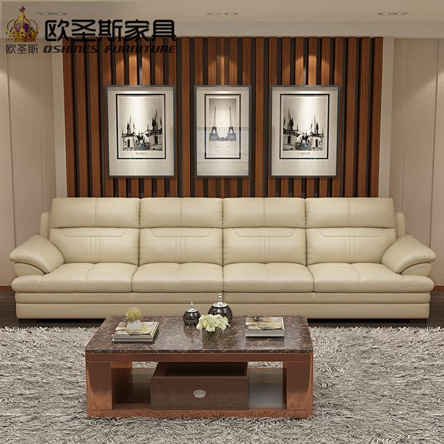 Soft Comfortable Livingroom Genuine Real Leather Sofa Set 4 3 2 1 Seaters Sets