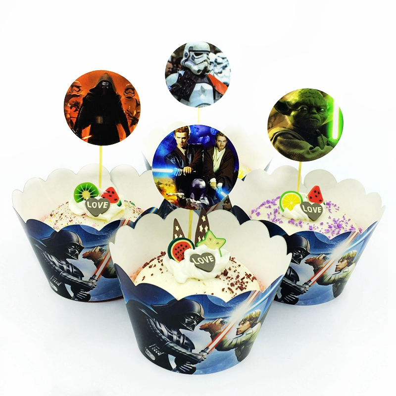 Us 1 45 49 Off 24pcs Star Wars Cake Toppers Cupcake Wrappers Black White Samurai Kids Birthday Party Cake Cup Decoration Baby Shower Supplies In