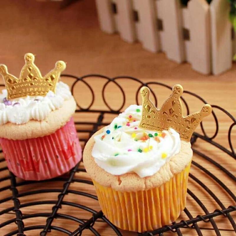 50 Pcslot Mini Crown Cake Topper Cupcake Birthday Cake Decoration