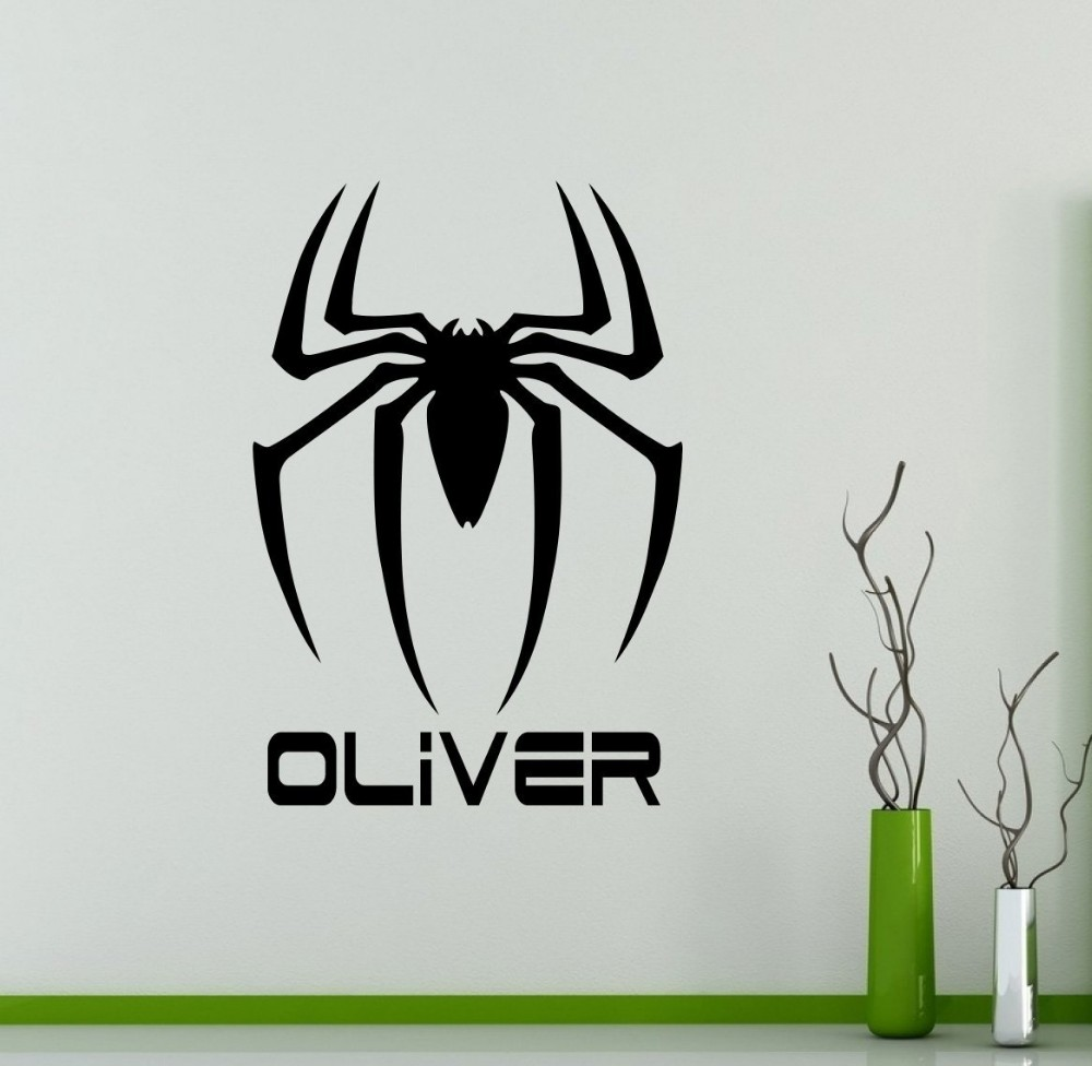 Custom Personalized Name Spider Man Logo Wall Decal Vinyl