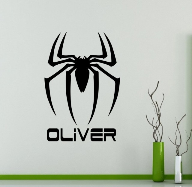 Custom Personalized Name Spider Man Logo Wall Decal Vinyl Removable