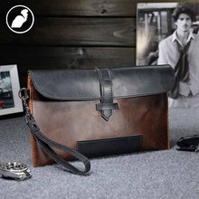 ETONWEAG New 2016 men famous brands cow leather vintage clutch bags fashion purses brown zipper preppy style daily wallets