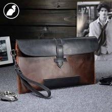 ETONWEAG New 2017 men famous brands cow leather vintage clutch bags fashion purses brown zipper preppy