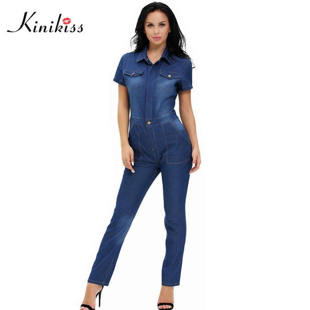 Kinikiss 2017 элегантных женщин джинсовые комбинезон длинные синие джинсы комбинезон для женщин мода лето клуб девушки комбинезон женский демин