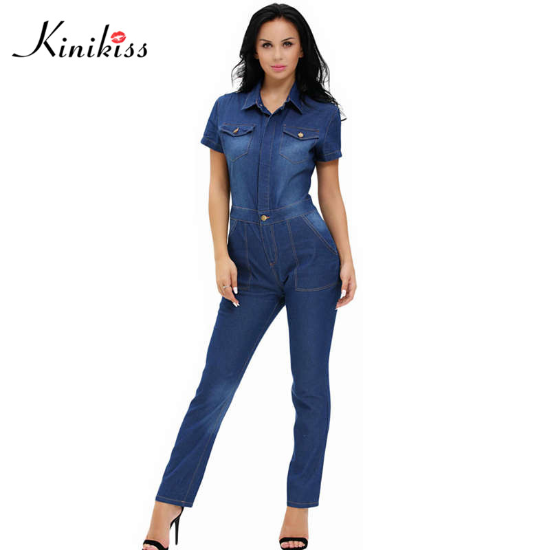 Kinikiss 2018 elegant women denim jumpsuit long blue jean jumpsuit for women fashion summer club girls jumpsuit female demin