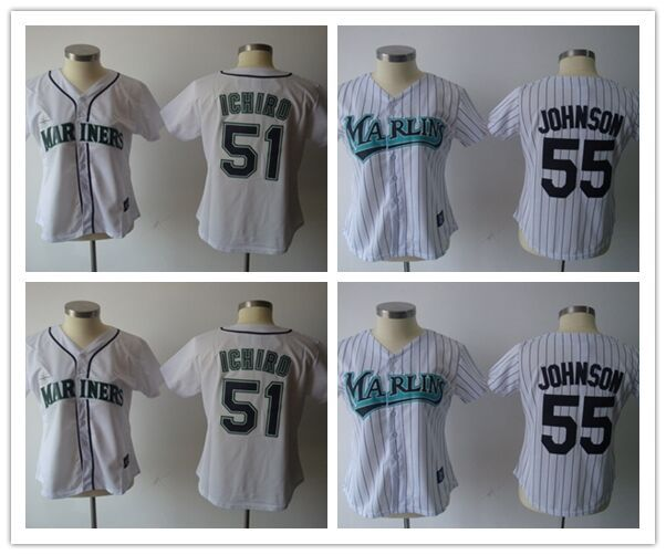 74676ce98f8 51 Ichiro Suzuki jersey women 55 Johnson baseball jersey female Seattle Mariners  jerseys cheap buy dirct from china S-XXL