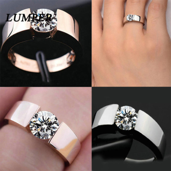LUNPER 6mm classic wedding ring for men / women rose gold / silver color stainless steel us size 10