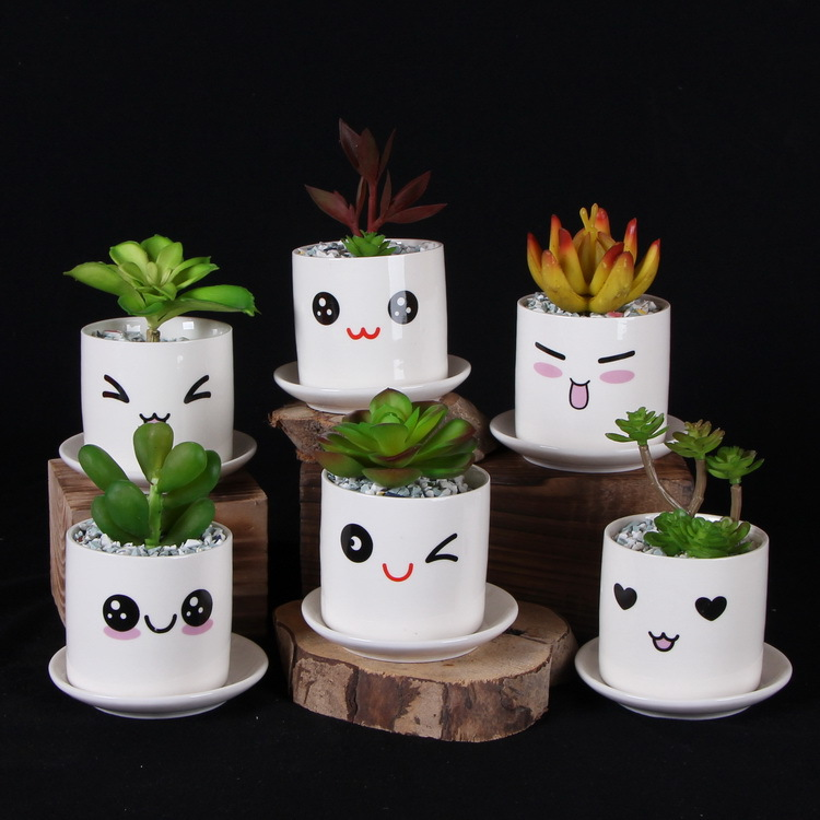 Cute mini porcelain flower pot desk succulents vase - Pot de decoration ...