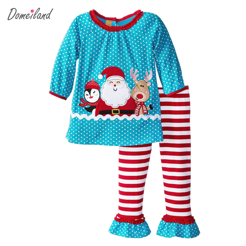 Kids 2017 domeiland new children boutique outfits clothing sets for long-sleeved little girls Christmas Santa Ruffle Pants комплекты акустики onkyo sks 4800 black