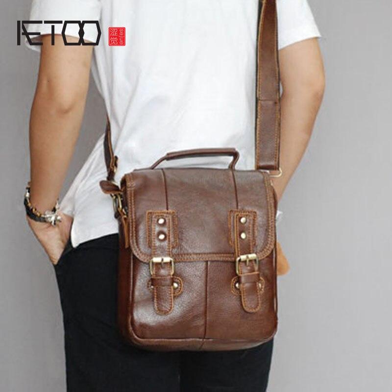 2 1 Paket Schulter Männer Tasche 3 Umhängetasche Leder 4 Retro Männlichen Vier Hand Aetoo Rw41qvX
