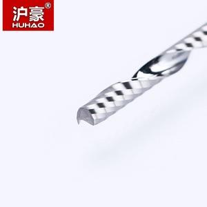 Image 2 - HUHAO 1pc 3.175mm pojedynczy flet spiralna obieraczka 3A najwyższej jakości frezy cnc do drewna akrylowe pcv frez trzpieniowy frez z węglika