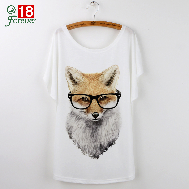 Summer Tops 2018 Animal T-Shirt Women Clothing Harajuku Cute Fox Short Sleeve White T Shirt Camiseta Feminina Tee Shirt Femme