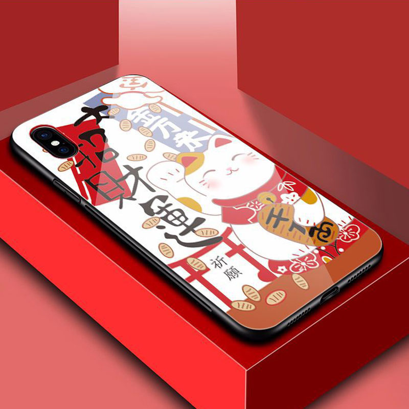 Lucky Cat Toughened Glass TPU Cell Shell Applicable to the iPhone XS Max 8 10 XR Cell Shell Applicable to the iPhone 876S Plus in Half wrapped Cases from Cellphones Telecommunications