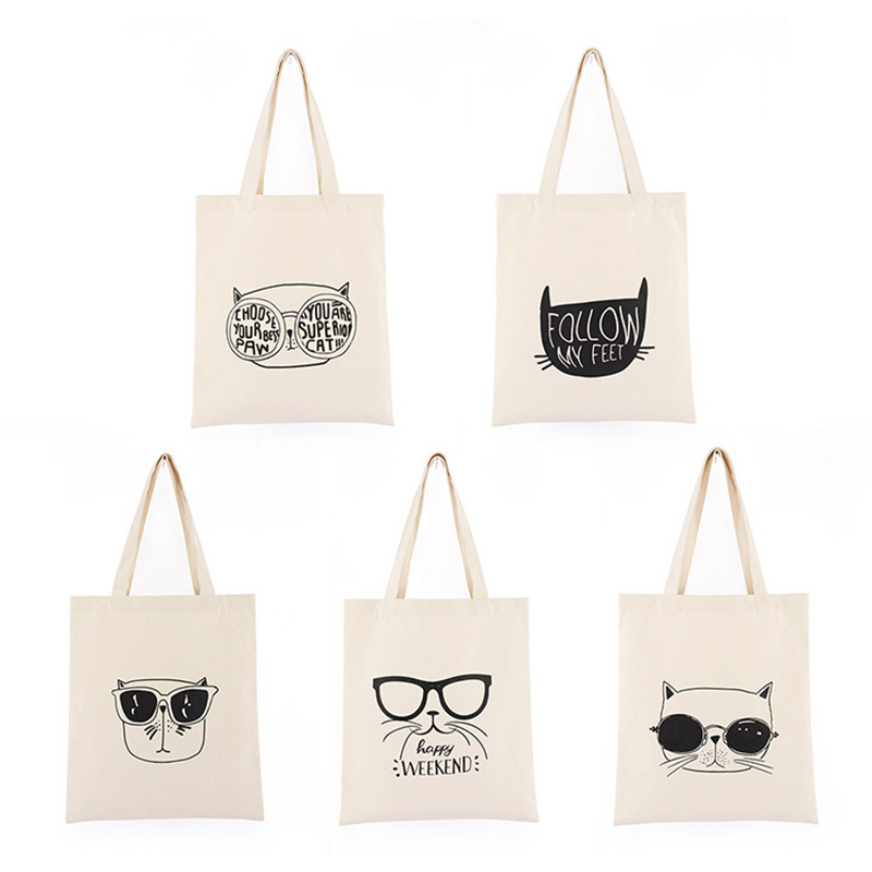 Cartoon cute canvas bag student with shoulder bag green handbag bag ladies light shopping bag in Shopping Bags from Luggage Bags