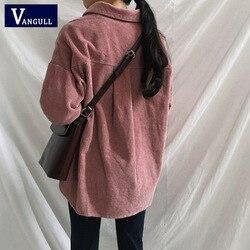 Nowy Harajuku sztruks kurtki damskie zimowe jesień płaszcze Plus rozmiar płaszcze damskie duże topy słodkie kurtki jednolity kolor odzież 5