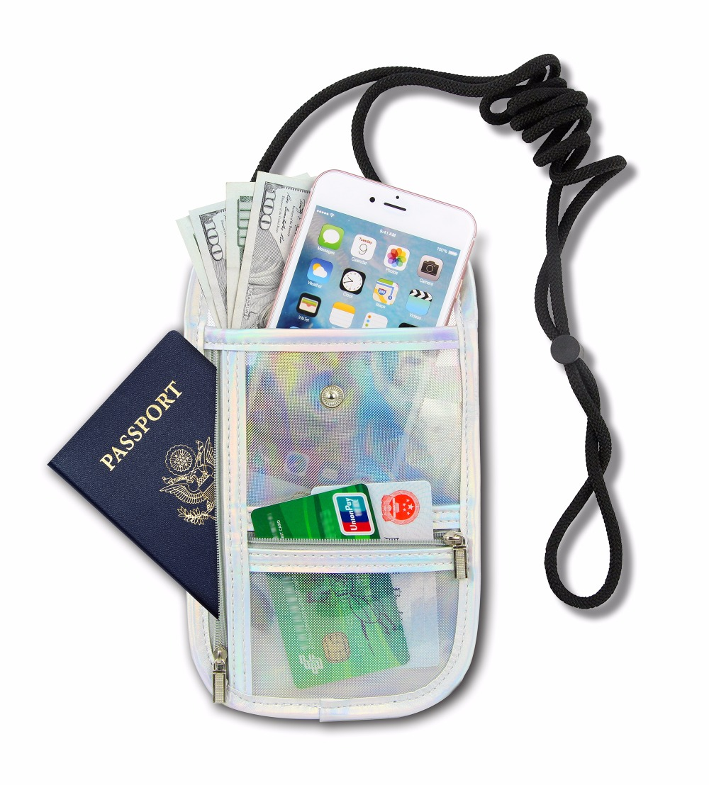Unisex Translucent Laser Neck Passport Holder Waterproof Wallet Women Travel Storage Bag Money Coin Cards Neck Tickets Bag Pouch waterproof bag pouch w armband neck strap for iphone 5 5c translucent white black