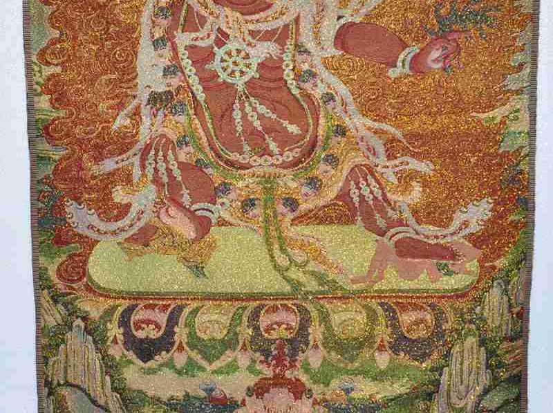 """35 """"Tibet Ricamo in Seta buddismo Tangka Esorcismo degli Spiriti maligni dio statua di buddha"""