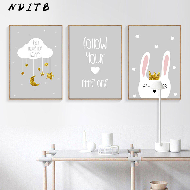 NDITB Rabbit Cloud Canvas Poster Cartoon Nursery Wall Art Print Painting Nordic Kids Decoration Pictures Baby Bedroom Decor