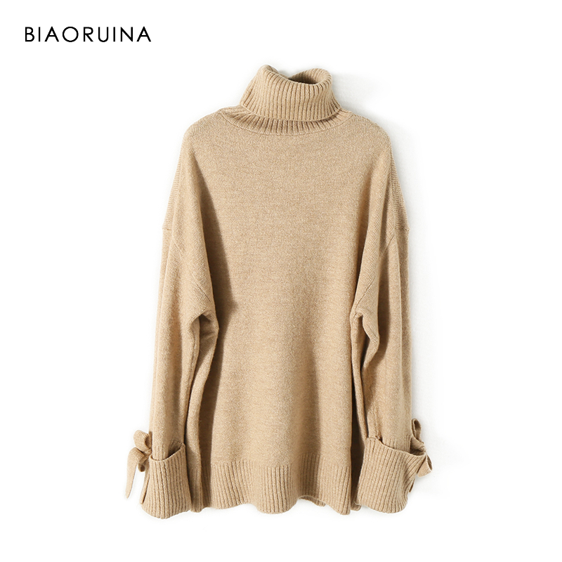 BIAORUINA Women's Fashion All-match Loose Knitted Sweater Ladies Casual Turtleneck Pullovers Bow Lace Up Warm Sweet Sweaters 3