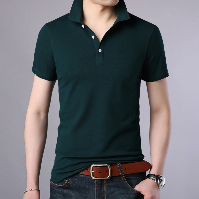 2019 New Fashion Men   Polo   Shirt Solid Color Slim Fit   Polo   Men Short Sleeve Mercerized Cotton Casual   Polos   Shirt Mens
