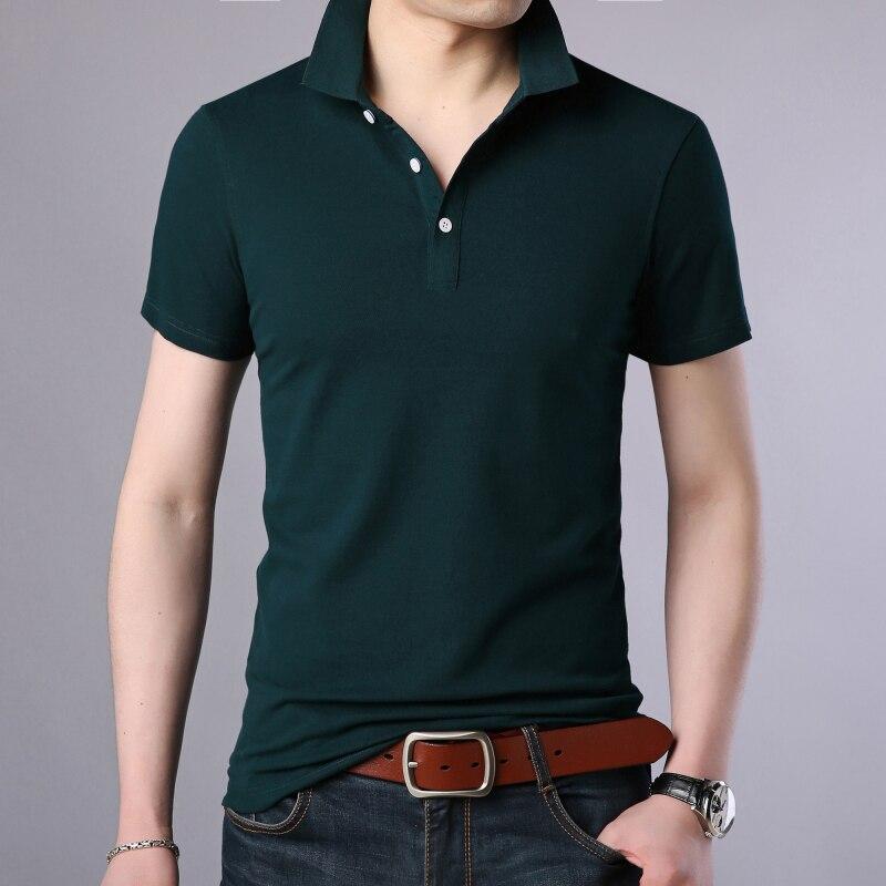 2020 New Fashion Men Polo Shirt Solid Color Slim Fit Polo Men Short Sleeve Mercerized Cotton Casual Polos Shirt Mens