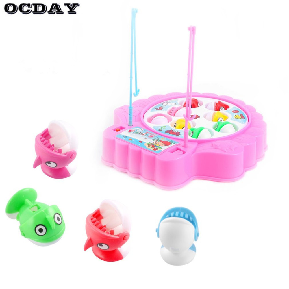 OCDAY Kids Fishing Toys Set Children Educational Toys Musical Gift Electric Rotating Fishing Game No Magnetic Outdoor Sports toy