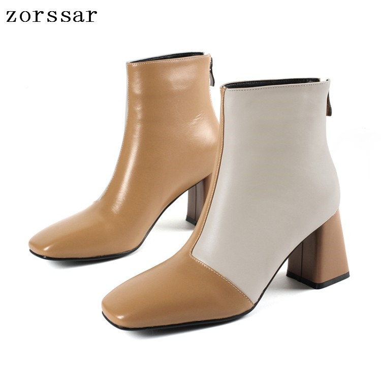 {Zorssar} fashion young women boots genuine leather thick high heel female ankle boots winter women Shoes Plus Size Boots 33-43 free shipping 2013 genuine leather high heel casual cotton padded shoes plus size 40 43 boots thick heel women s boots z476