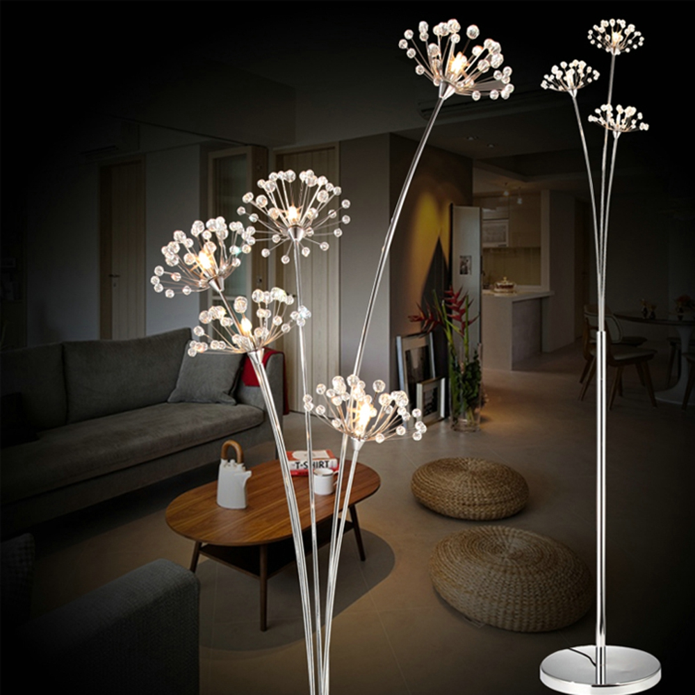 new modern crystal floor lamp for living room flower decorative led steel standing lamps bedroom. Black Bedroom Furniture Sets. Home Design Ideas