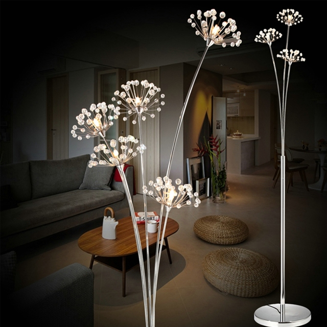 New Modern Crystal Floor Lamp For Living Room Flower Decorative Led Steel Standing Lamps Bedroom Clic